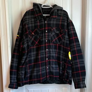 NWT Can Am men's insulated jacket coat plaid check